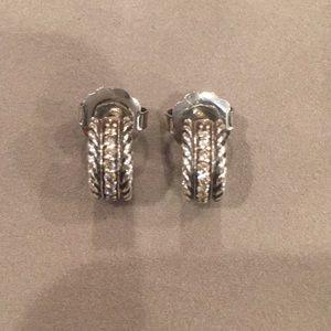 David Yurman Huggie Diamond hoop earrings